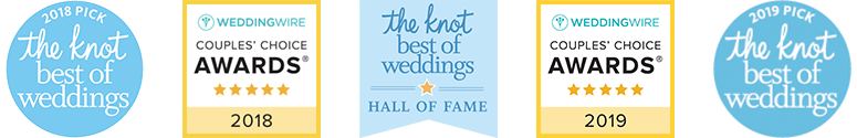 Badges awarded to Live Music Pros™ NYC for our wedding bands & DJs - 2016 & 2017 WeddingWire Couples' Choice Awards (top 5% of wedding professionals) and 2016 & 2017 The Knot Best of Weddings (voted the best by real couples)